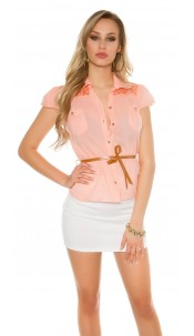 Sexy KouCla short sleeve blouse+lace+rivets+belt Apricot