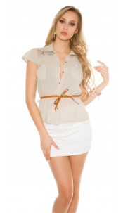 Sexy KouCla short sleeve blouse+lace+rivets+belt Beige
