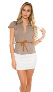Sexy KouCla short sleeve blouse+lace+rivets+belt Cappuccino