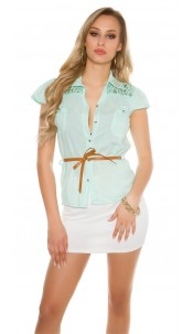 Sexy KouCla short sleeve blouse+lace+rivets+belt Mint