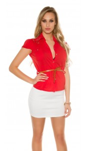 Sexy KouCla short sleeve blouse+lace+rivets+belt Red