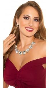 Trendy rhinestone necklace Silvergold