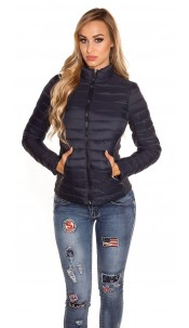 Trendy quilted transition jacket w. standup collar Navy
