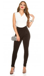 Sexy party jumpsuit with side pockets White