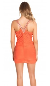 Sexy Partydress with cowl neck and rhinestones Salmon