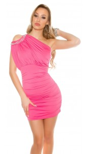 Sexy Party Dress, One shoulder with pearls Fuchsia