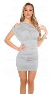 Sexy Party Dress, One shoulder with pearls Grey