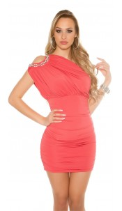 Sexy Party Dress, One shoulder with pearls Salmon