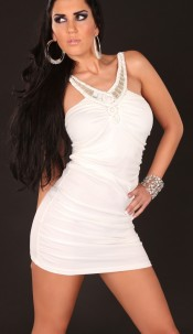 Sexy Party-Minidress, ruffled with pearls a.stones White