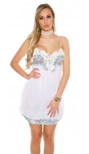 Sexy mini dress in Babydoll look White