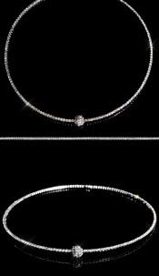 Sexy rhinestone collier/necklace & rhinestone ball Silver