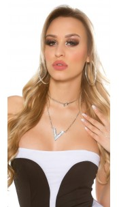 Trendy long necklace with rhinestones Silver