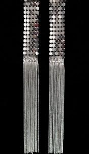 Trendy pendant earrings with rhinestones Silver