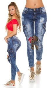 Sexy Skinny Jeans with sequins & rhinestones Jeansblue