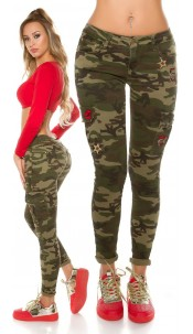 Trendy Camo Cargo Jeans with patches Army