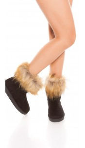 Trendy winter boots lined with fake fur Black