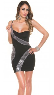 Sexy Party-Mini-dress with sequins Black
