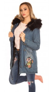 TrendyJeans Parka lined fake fur & embroidery Black