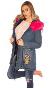 TrendyJeans Parka lined fake fur & embroidery Fuchsia