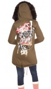 Trendy Winterparka w. detachable fake fur hood Black