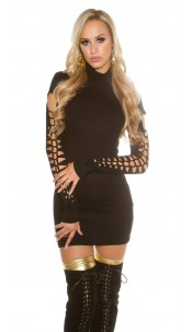 Sexy roll collarmini dress with dirty cracks Black