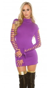 Sexy roll collarmini dress with dirty cracks Purple