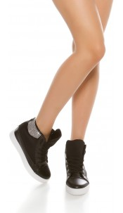Trendy wedge sneakers with rhinestones Black