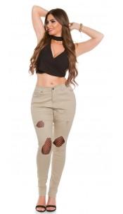 Curvy Girls! Trendy Jeans Used Look w. mesh Beige