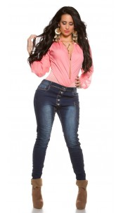 Curvy Girls Size!Trendy skinny jeans with buttons Jeansblue