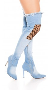 Sexy High Heel Jeans Overknees with Net Decor Lightblue
