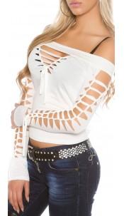 shirt with sexy cracks White