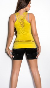 Sexy longtop with embroidery Yellow