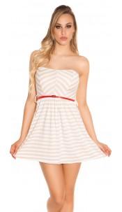 Sexy KouCla Bandeau mini dress, striped m. belt Beige