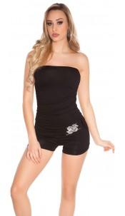 Sexy bandeau jumpsuit m. buckle Black