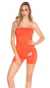 Sexy bandeau jumpsuit m. buckle Coral
