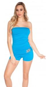 Sexy bandeau jumpsuit m. buckle Turquoise