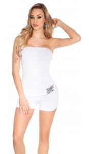 Sexy bandeau jumpsuit m. buckle White