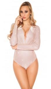Sexy LeT s PaRTY V-Cut Glitter Bodysuit Antiquepink