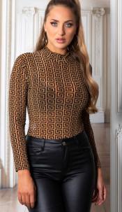 Sexy doorzichtig body met geometric patroon bruin