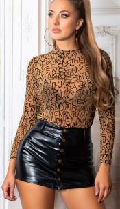 Sexy doorzichtig bodysuit met letter print bruin