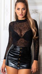 Sexy doorzichtig bodysuit met letter print zwart