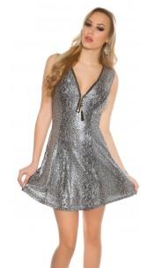 Sexy minidress with XL-zip Silver