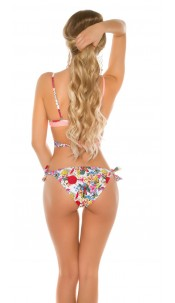 Sexy 2Way bikini with floral print padded Apricot