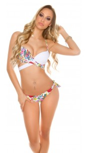 Sexy 2Way bikini with floral print padded White