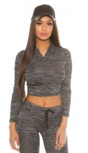 Trendy KouCla Basic Crop-Hoodie Black