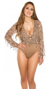 Sexy KouCla party bodysuit with sequin threads Cappuccino