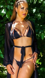 Sexy Neck-Bikini with removable pads Black
