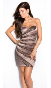 Sexy Bandeau Cocktail-Dress with sequins Cappuccino
