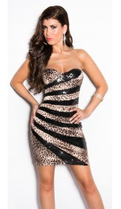 Sexy Bandeau Cocktail-Dress with sequins Leoblack