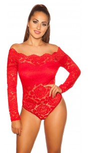 Sexy long-sleeved lace body, padded Red